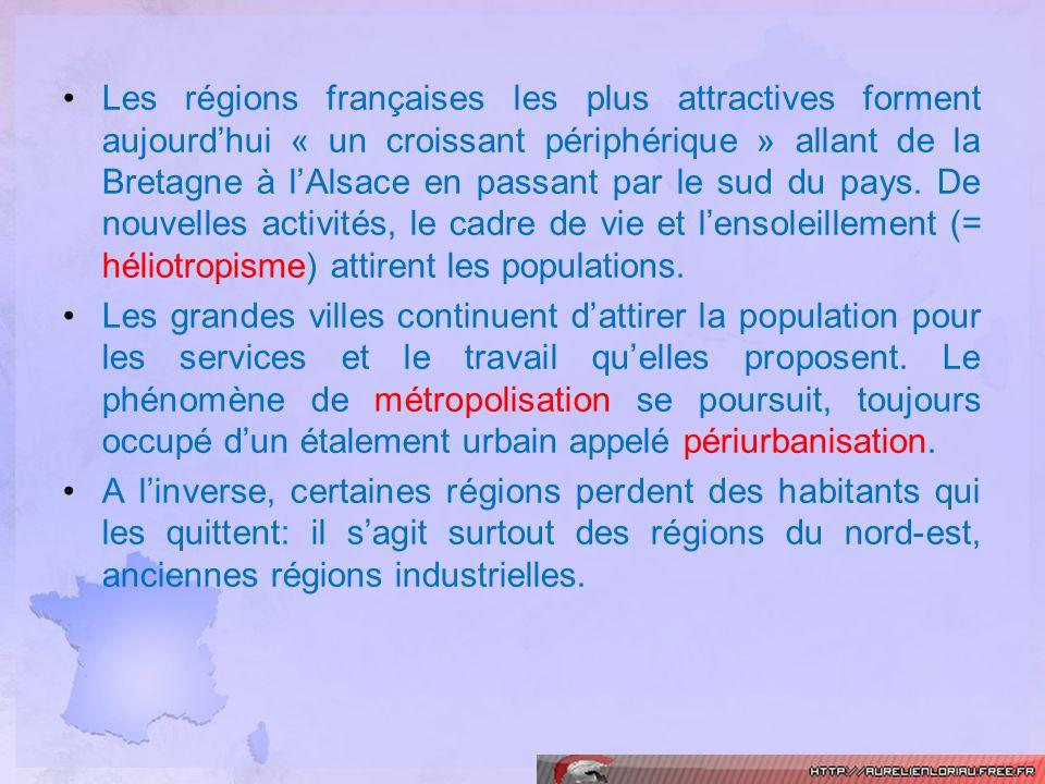 Les régions françaises les plus attractives forment aujourd'hui « un croissant périphérique » allant de la Bretagne à l'Alsace en passant par le sud du pays. De nouvelles activités, le cadre de vie et l'ensoleillement (= héliotropisme) attirent les populations.