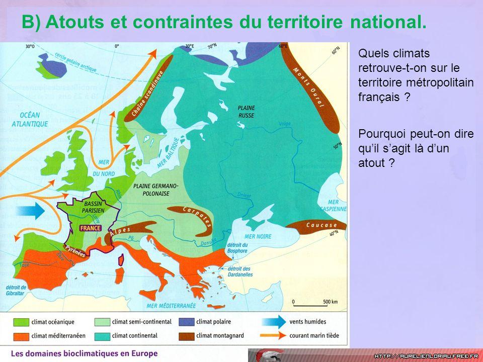 B) Atouts et contraintes du territoire national.