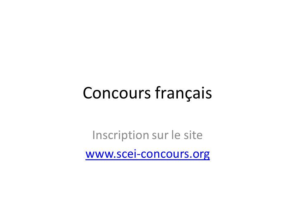 Inscription sur le site www.scei-concours.org