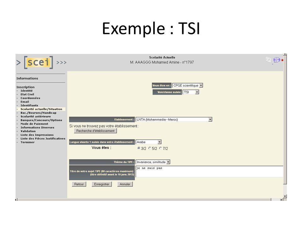 Exemple : TSI