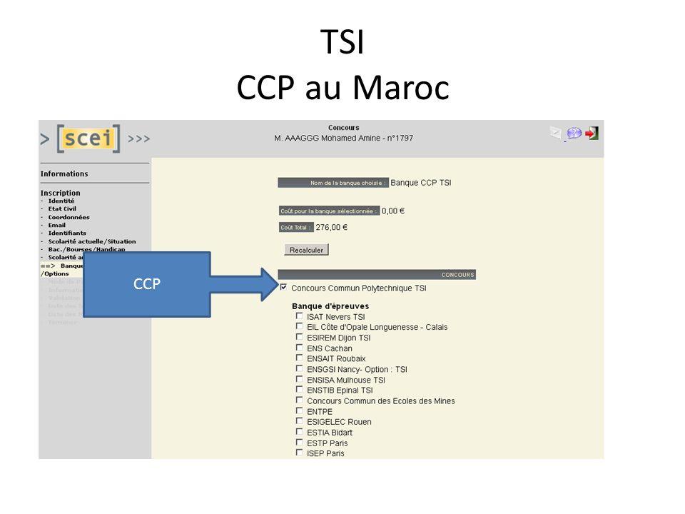 TSI CCP au Maroc CCP
