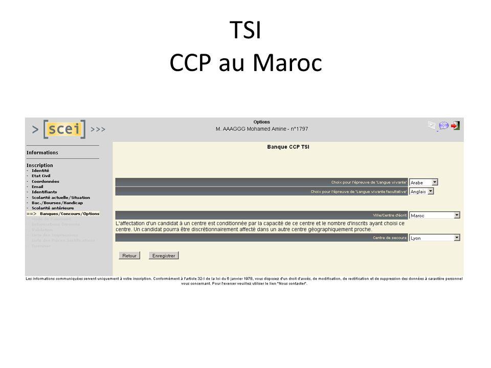 TSI CCP au Maroc