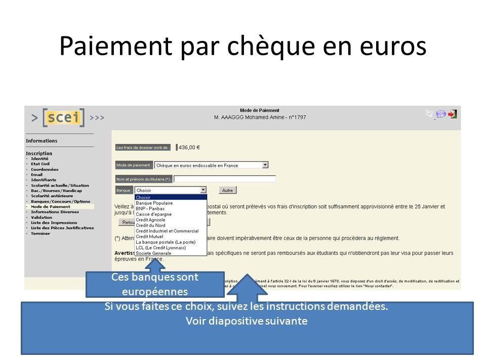 Paiement par chèque en euros