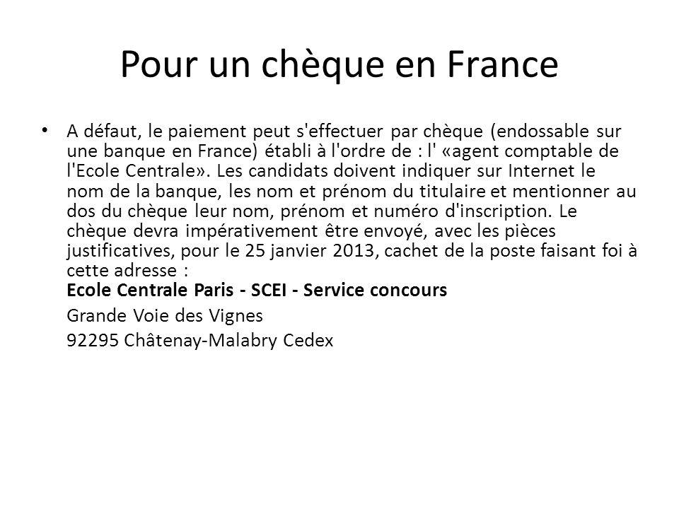 Pour un chèque en France