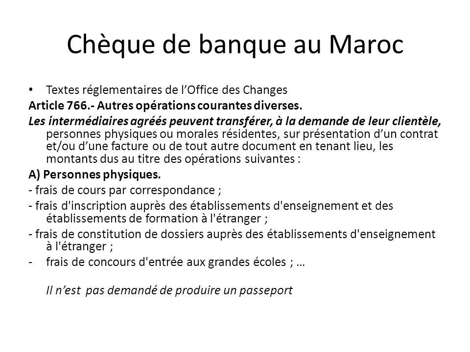 Chèque de banque au Maroc