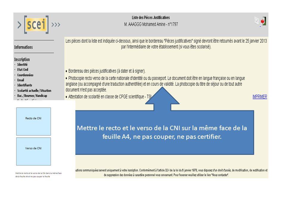 Mettre le recto et le verso de la CNI sur la même face de la feuille A4, ne pas couper, ne pas certifier.