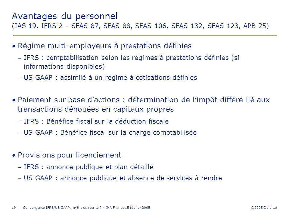 Avantages du personnel (IAS 19, IFRS 2 – SFAS 87, SFAS 88, SFAS 106, SFAS 132, SFAS 123, APB 25)