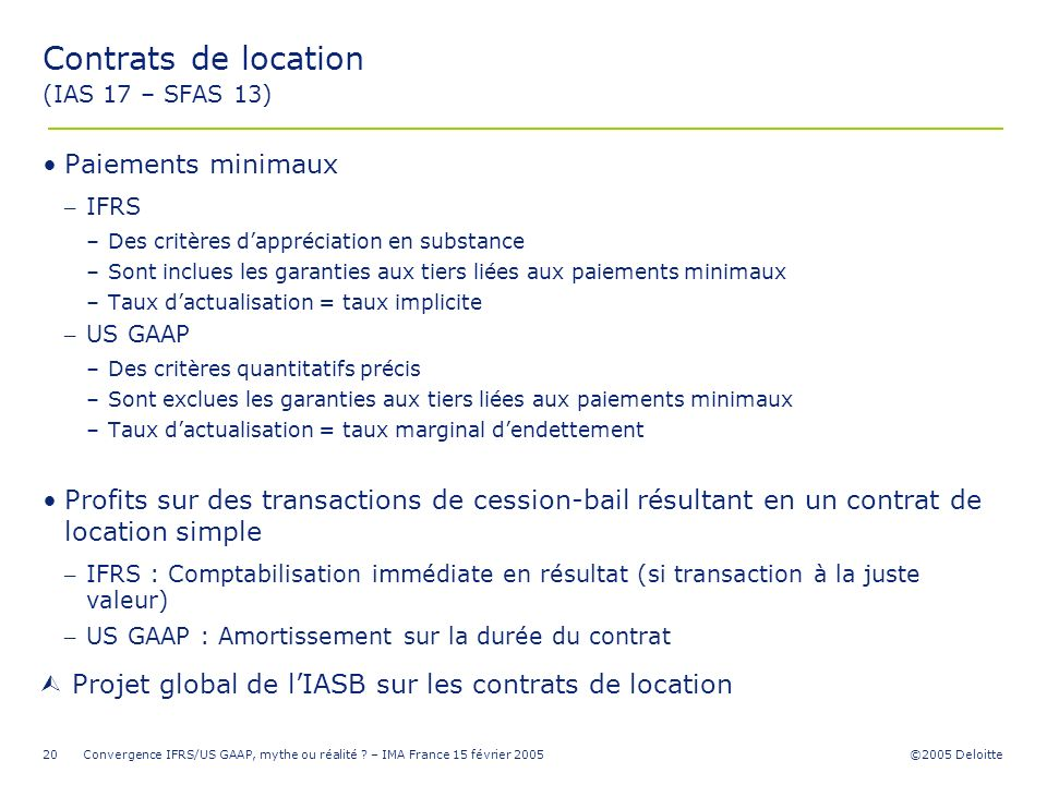 Contrats de location (IAS 17 – SFAS 13)