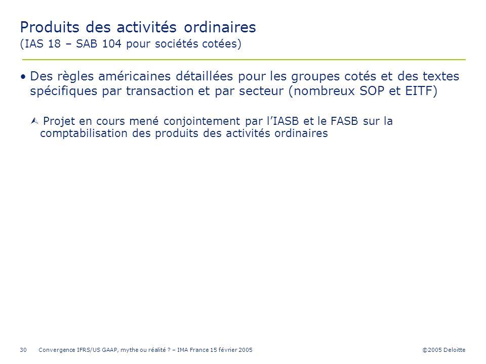 Produits des activités ordinaires (IAS 18 – SAB 104 pour sociétés cotées)