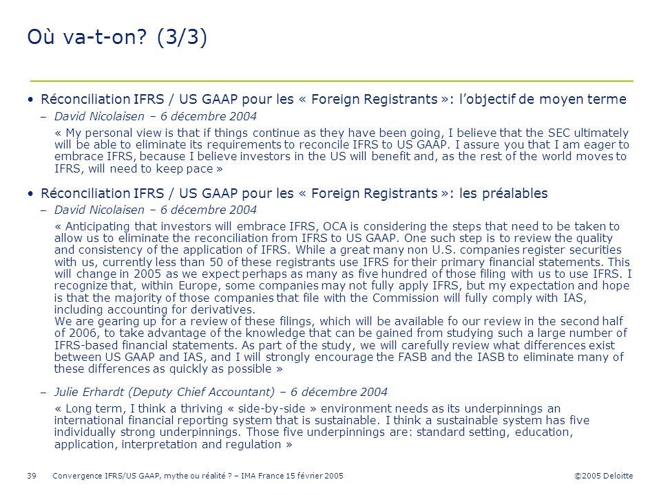 Où va-t-on (3/3) Réconciliation IFRS / US GAAP pour les « Foreign Registrants »: l'objectif de moyen terme.