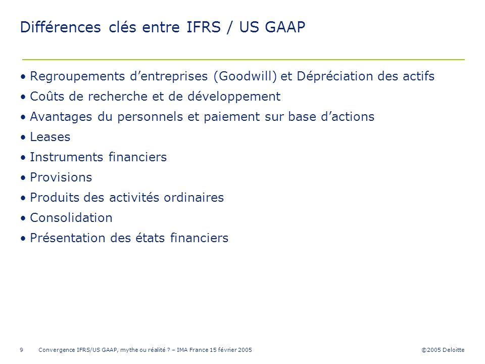 us gaap and french gaap