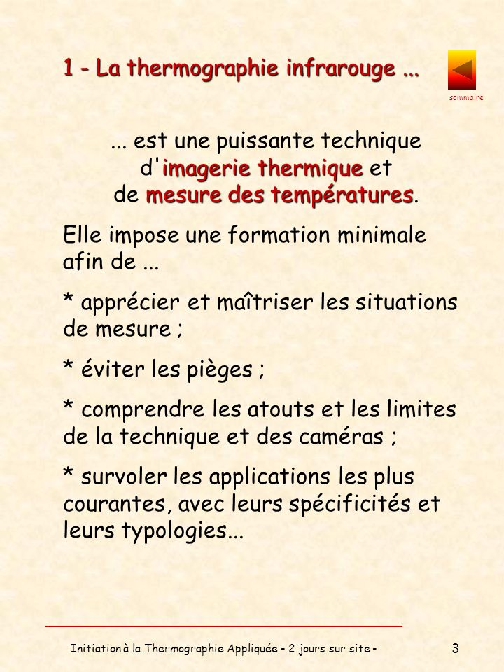 1 - La thermographie infrarouge ...