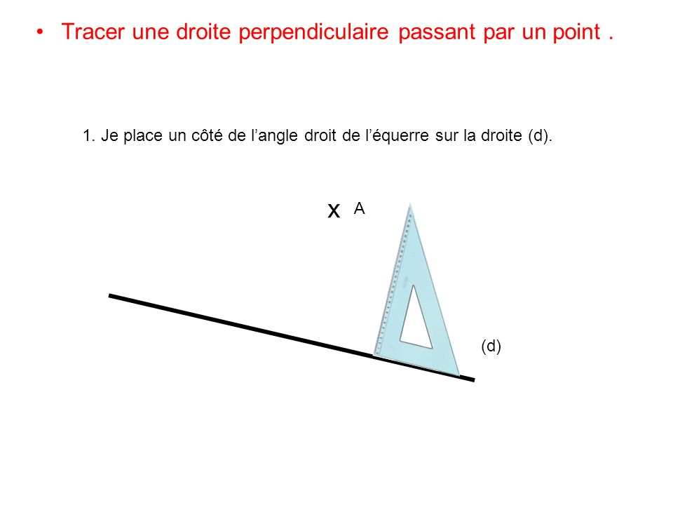 x Tracer une droite perpendiculaire passant par un point .