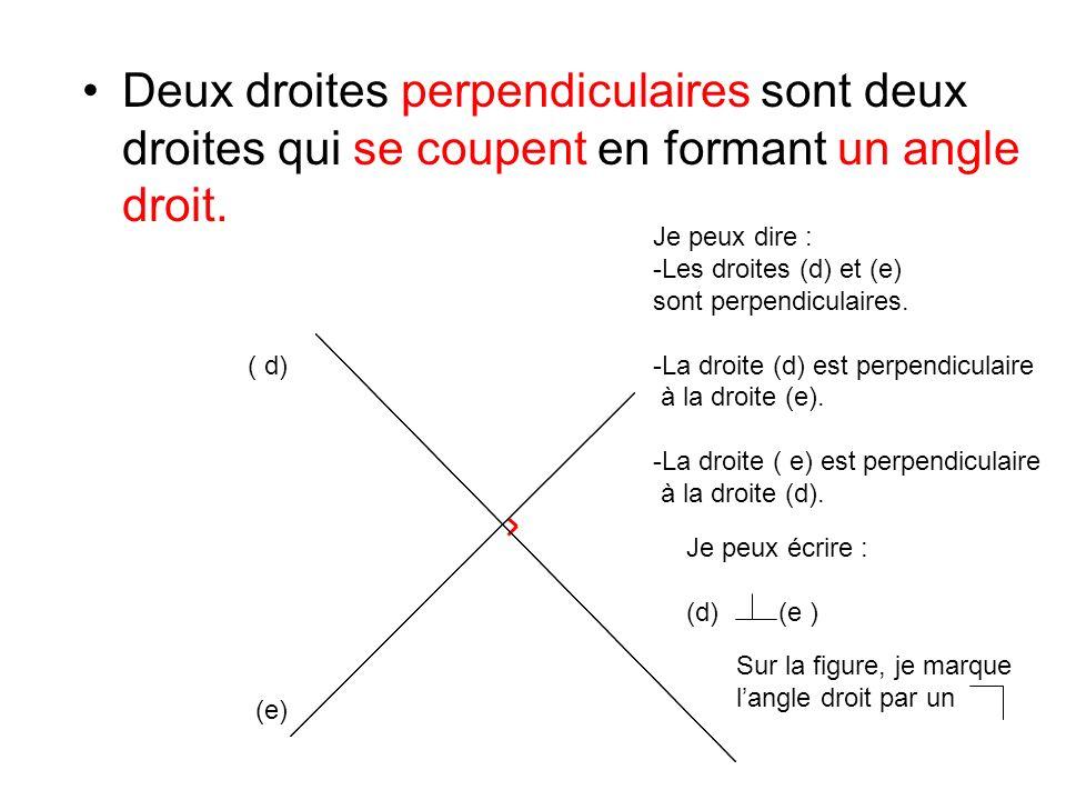 Deux droites perpendiculaires sont deux droites qui se coupent en formant un angle droit.