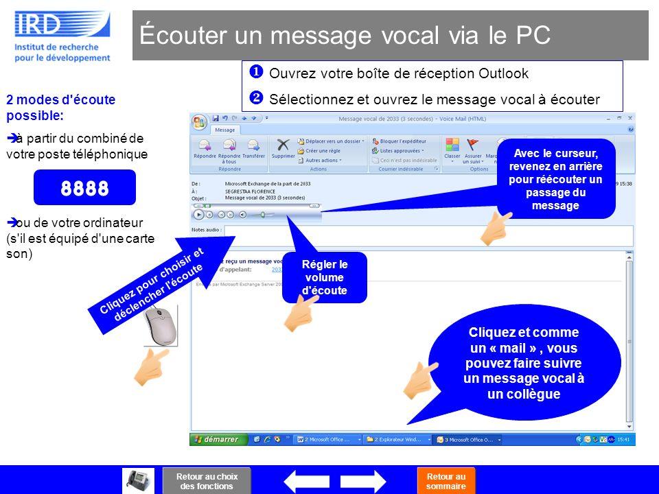 Écouter un message vocal via le PC
