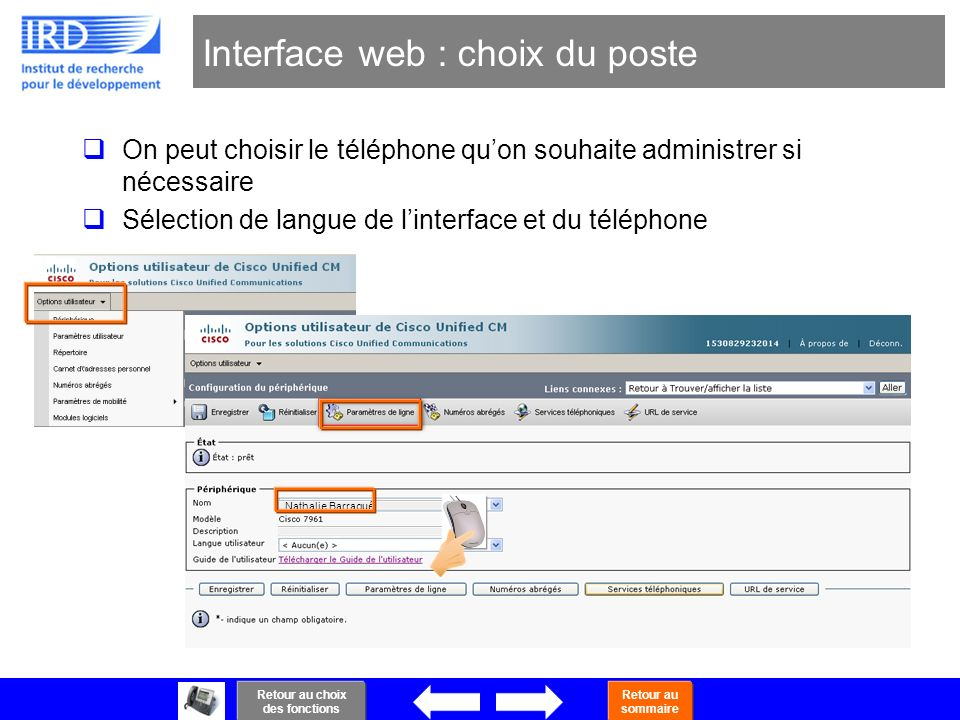 Interface web : choix du poste
