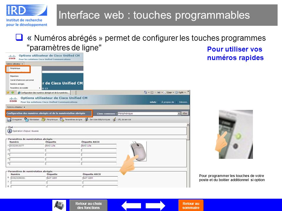 Interface web : touches programmables