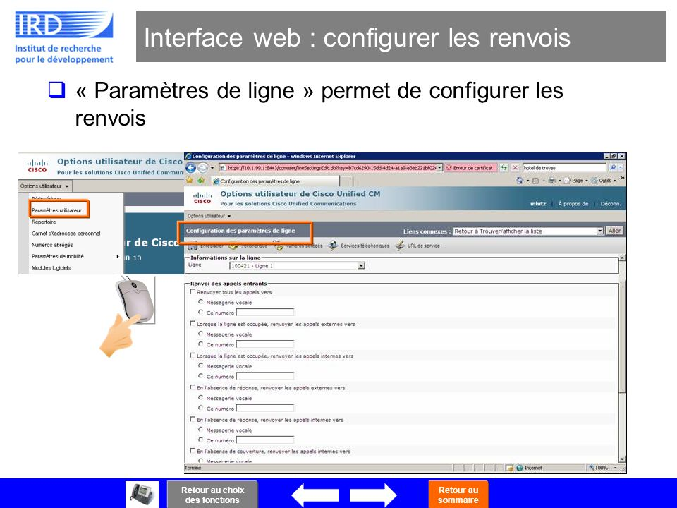 Interface web : configurer les renvois