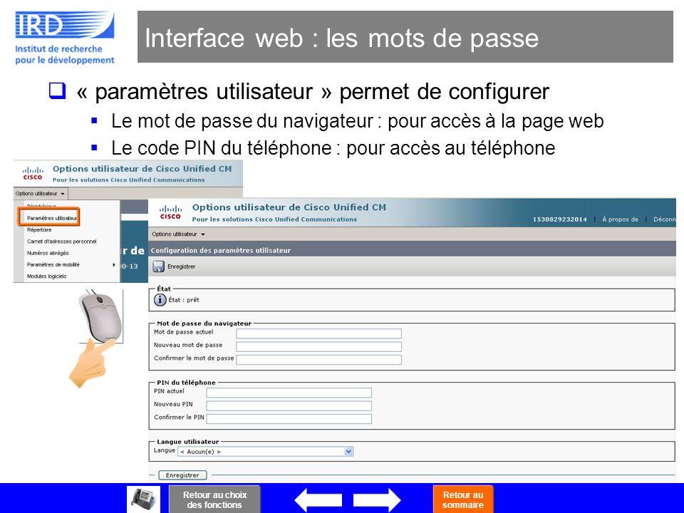 Interface web : les mots de passe