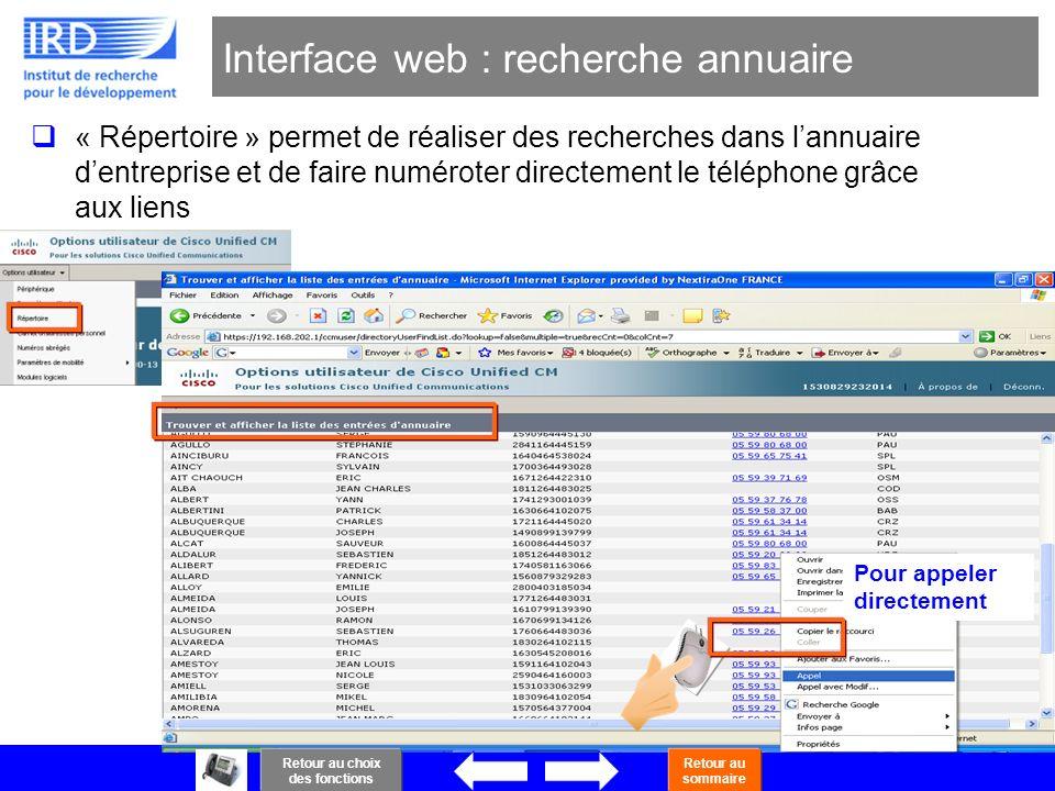 Interface web : recherche annuaire