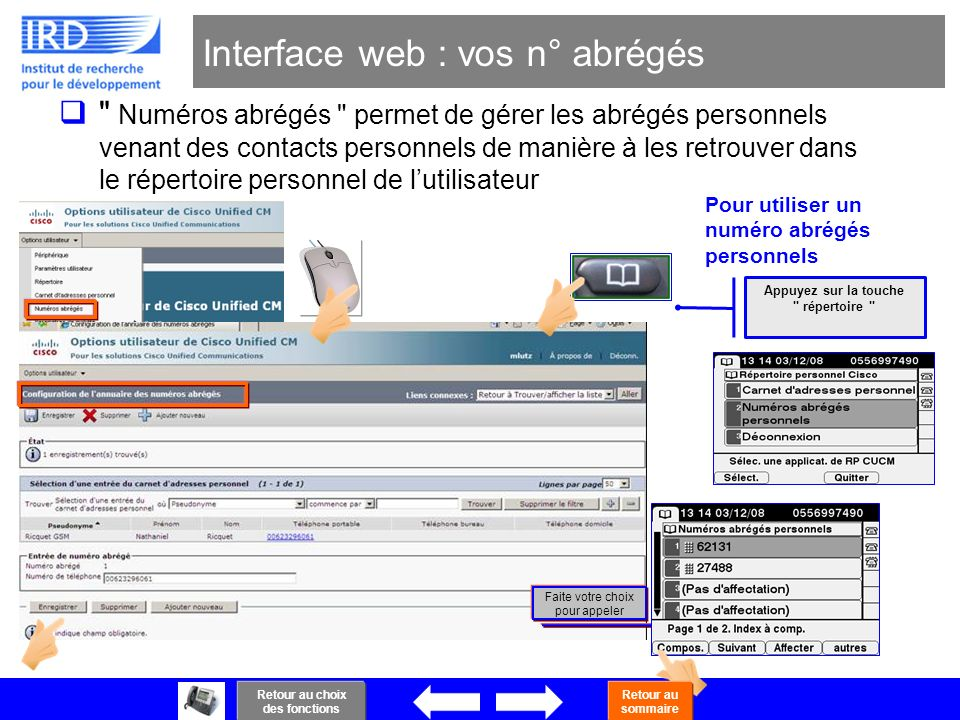 Interface web : vos n° abrégés