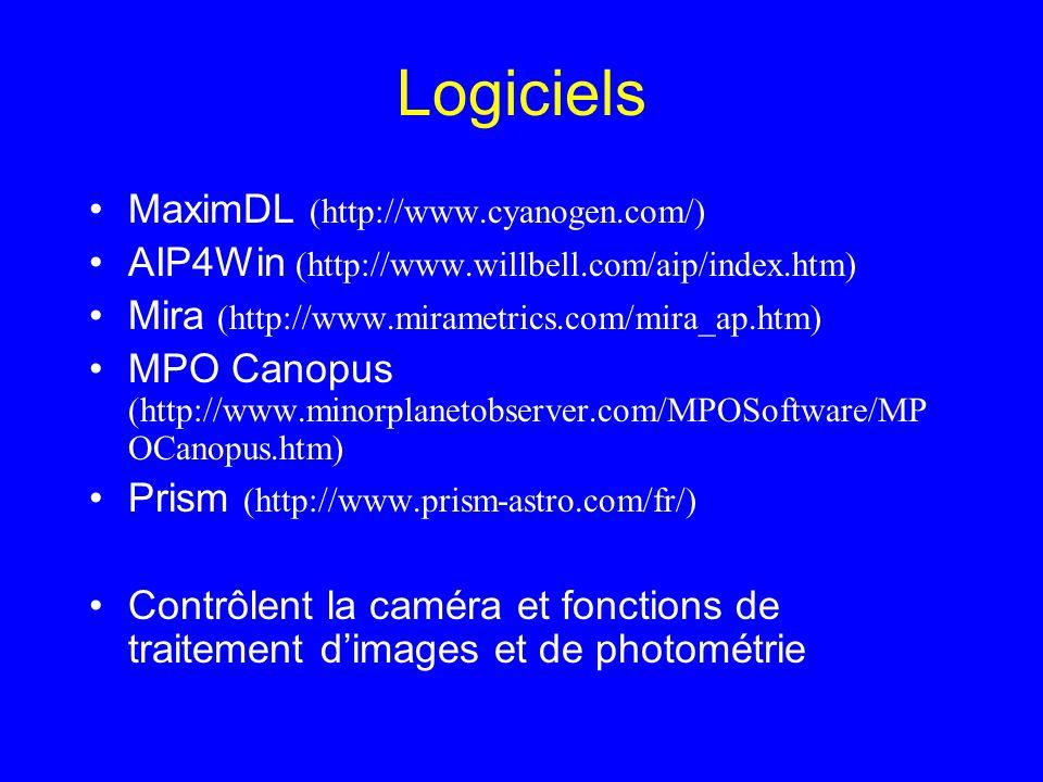 Logiciels MaximDL (http://www.cyanogen.com/)