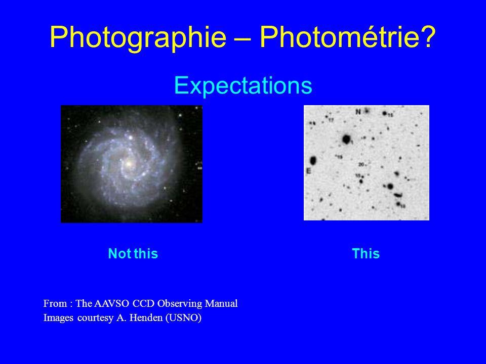 Photographie – Photométrie Expectations