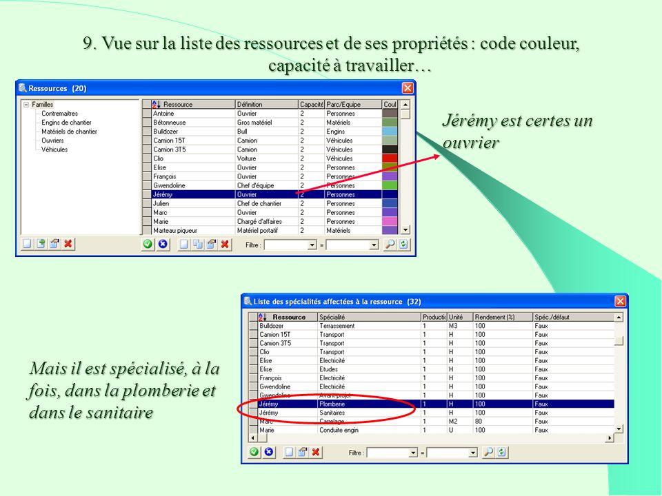 9. Vue sur la liste des ressources et de ses propriétés : code couleur, capacité à travailler…
