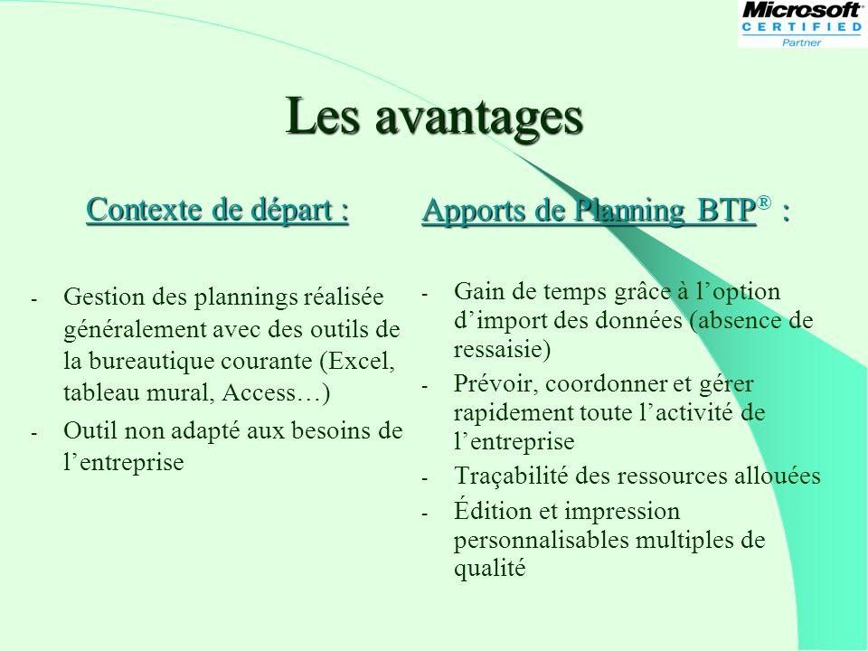 Les avantages Contexte de départ : Apports de Planning BTP® :