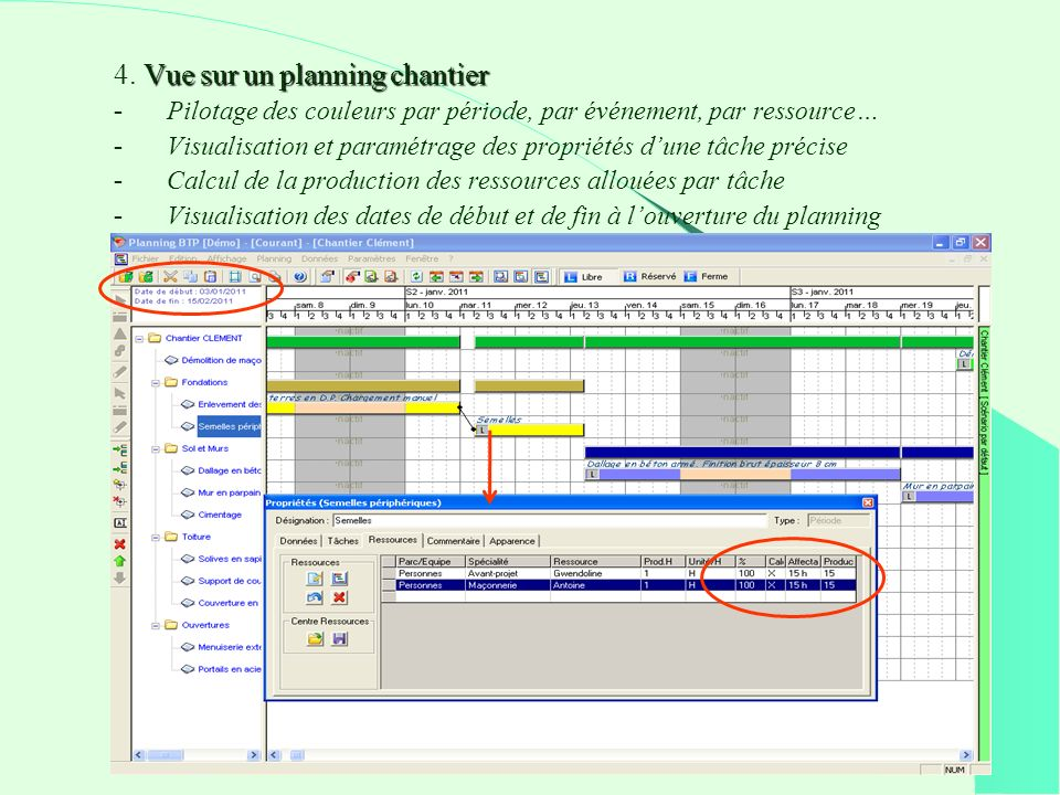 4. Vue sur un planning chantier