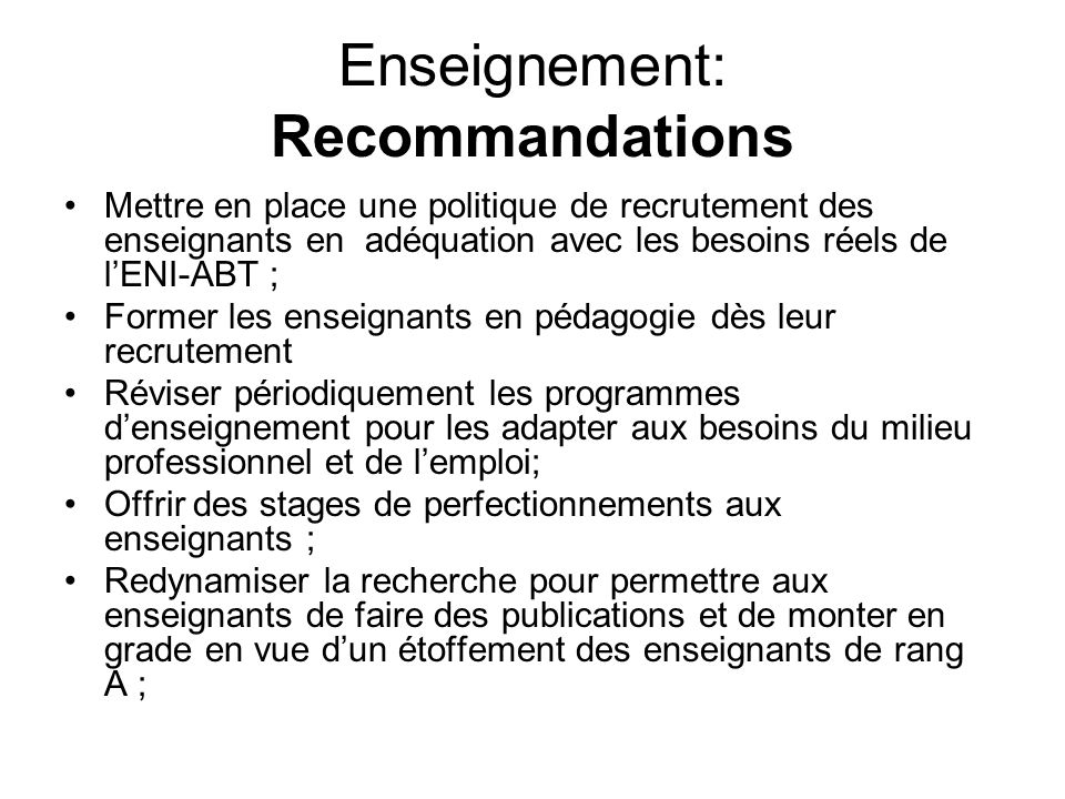 Enseignement: Recommandations