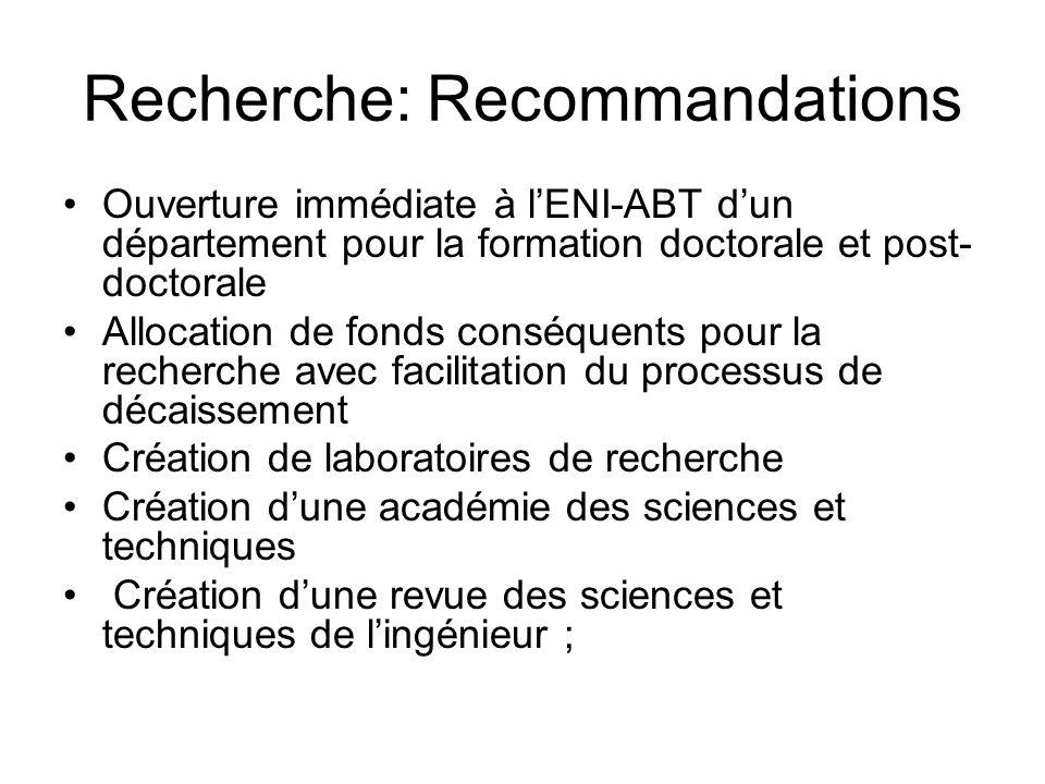 Recherche: Recommandations