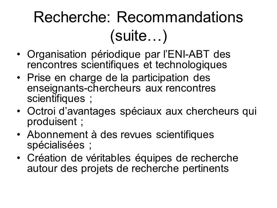 Recherche: Recommandations (suite…)