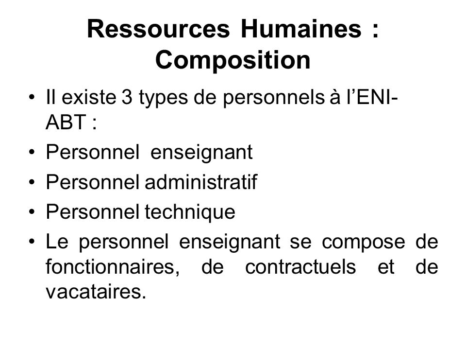 Ressources Humaines : Composition