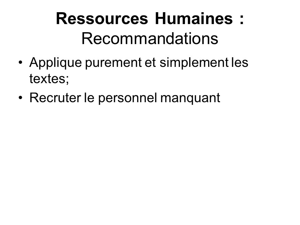 Ressources Humaines : Recommandations