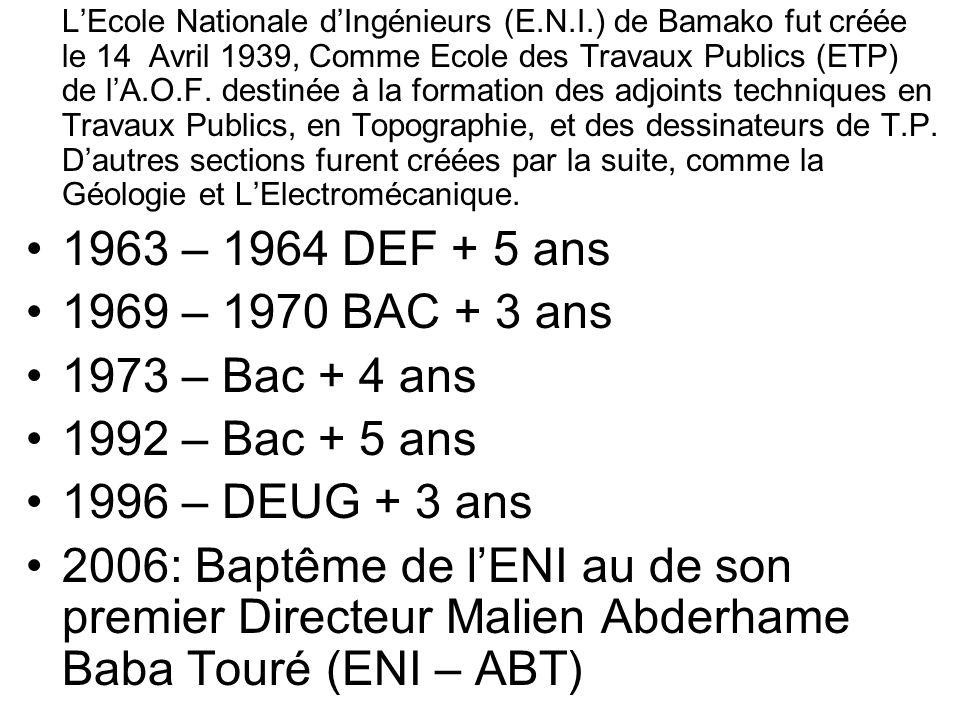 1963 – 1964 DEF + 5 ans 1969 – 1970 BAC + 3 ans 1973 – Bac + 4 ans