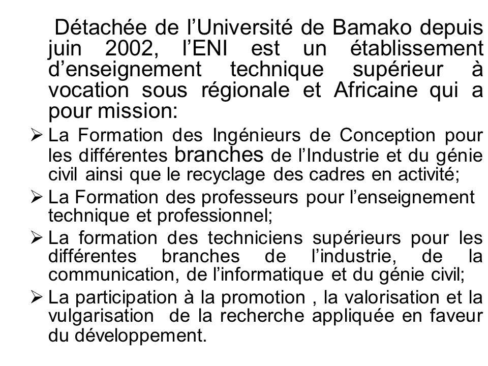 Détachée de l'Université de Bamako depuis juin 2002, l'ENI est un établissement d'enseignement technique supérieur à vocation sous régionale et Africaine qui a pour mission: