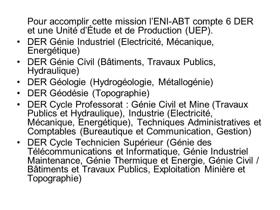 Pour accomplir cette mission l'ENI-ABT compte 6 DER et une Unité d'Étude et de Production (UEP).