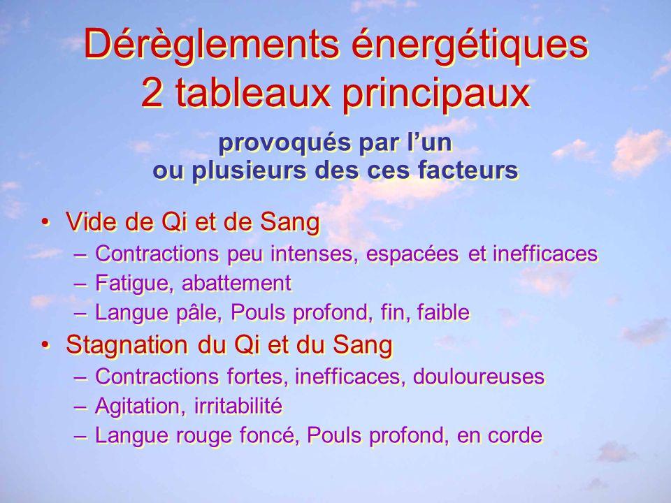 Dérèglements énergétiques 2 tableaux principaux