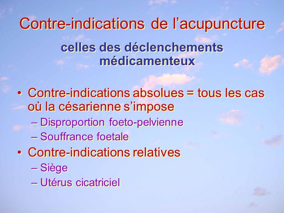 Contre-indications de l'acupuncture