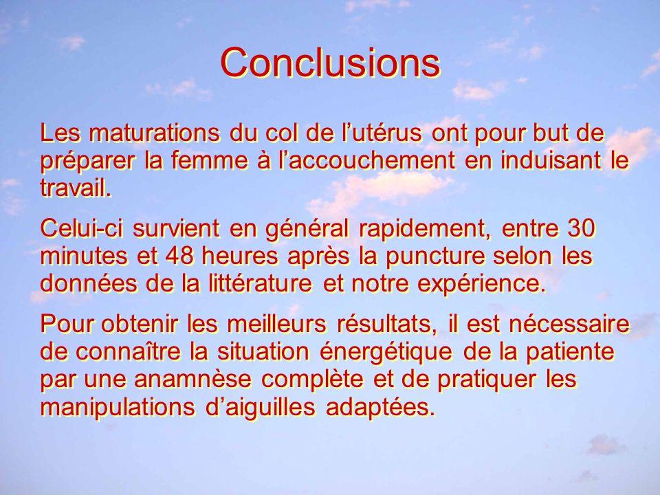Conclusions Les maturations du col de l'utérus ont pour but de préparer la femme à l'accouchement en induisant le travail.