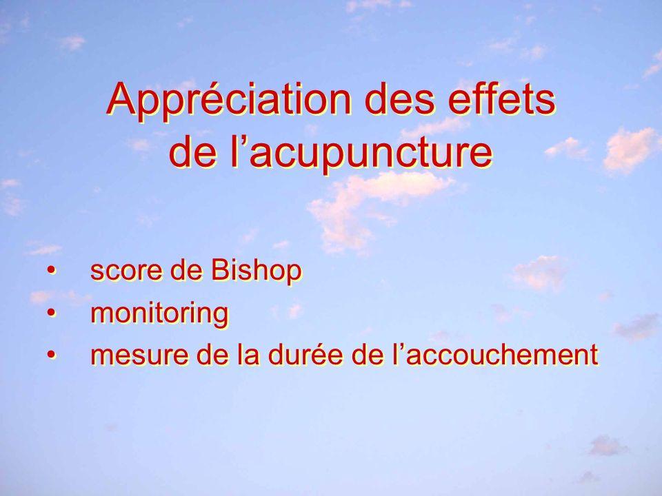 Appréciation des effets de l'acupuncture