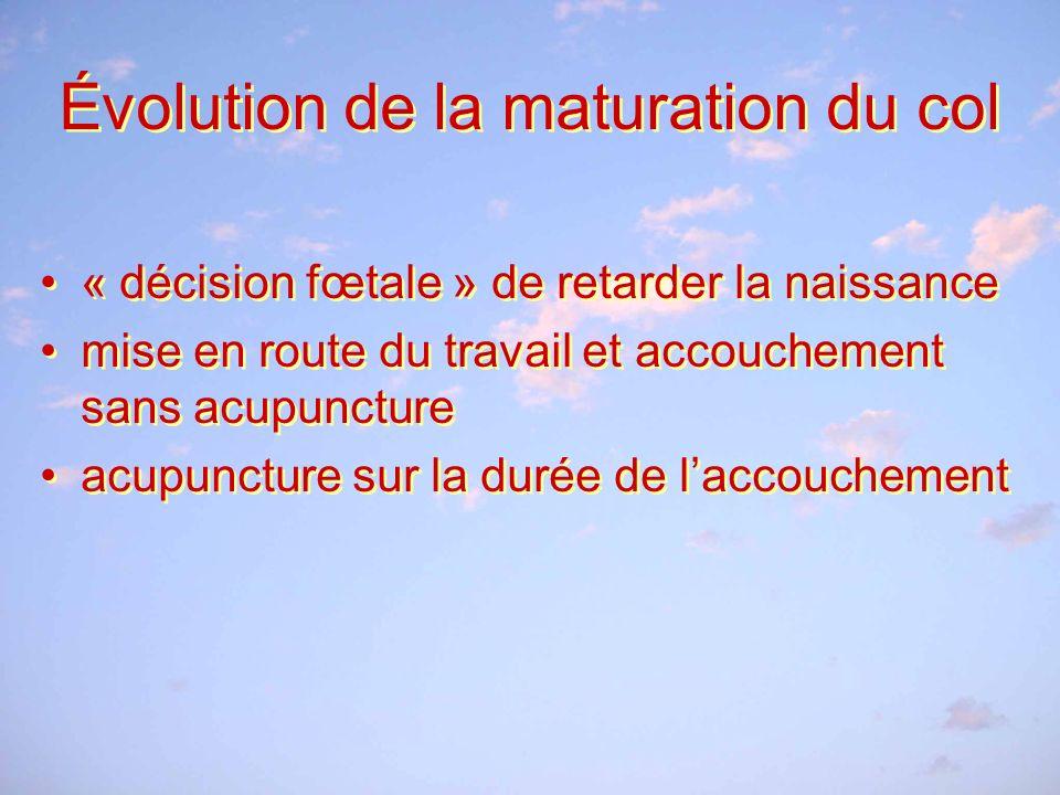 Évolution de la maturation du col