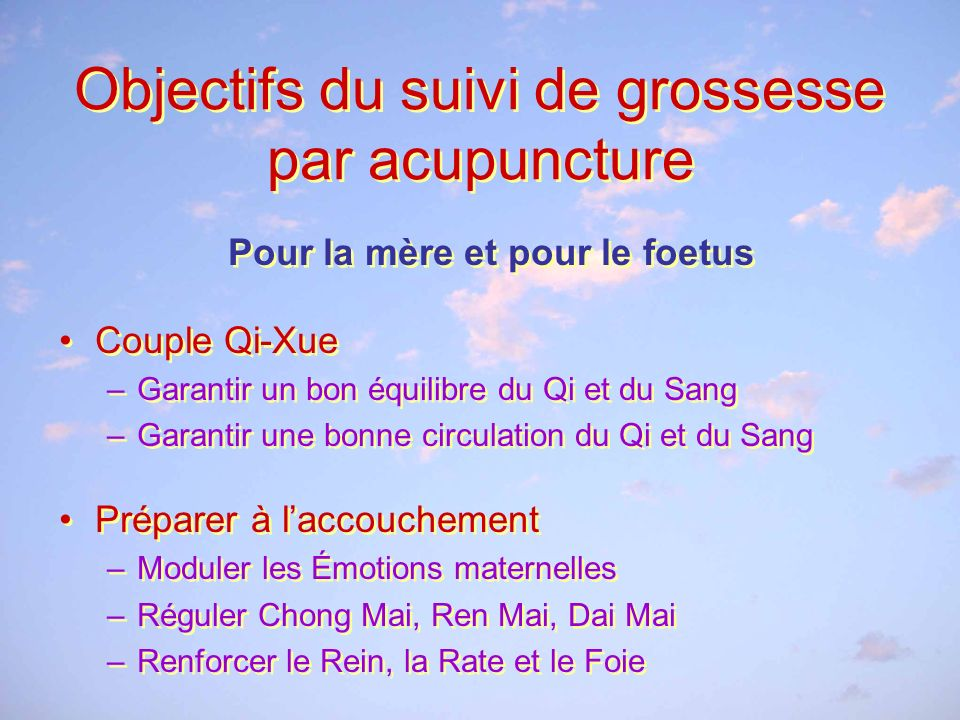 Objectifs du suivi de grossesse par acupuncture
