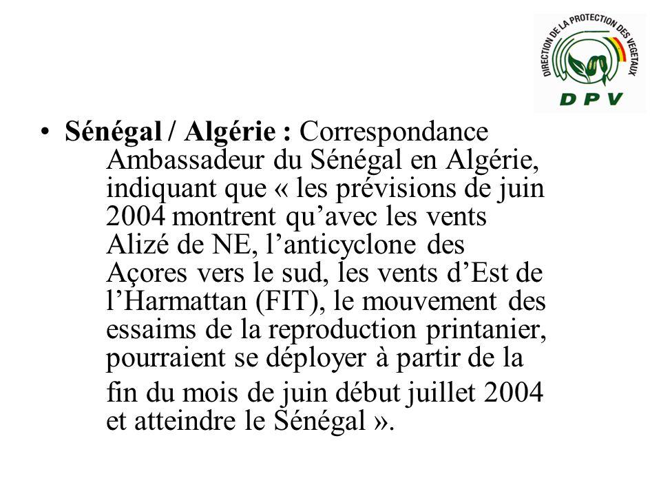 Sénégal / Algérie : Correspondance. Ambassadeur du Sénégal en Algérie,