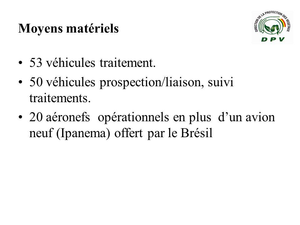 Moyens matériels 53 véhicules traitement. 50 véhicules prospection/liaison, suivi traitements.