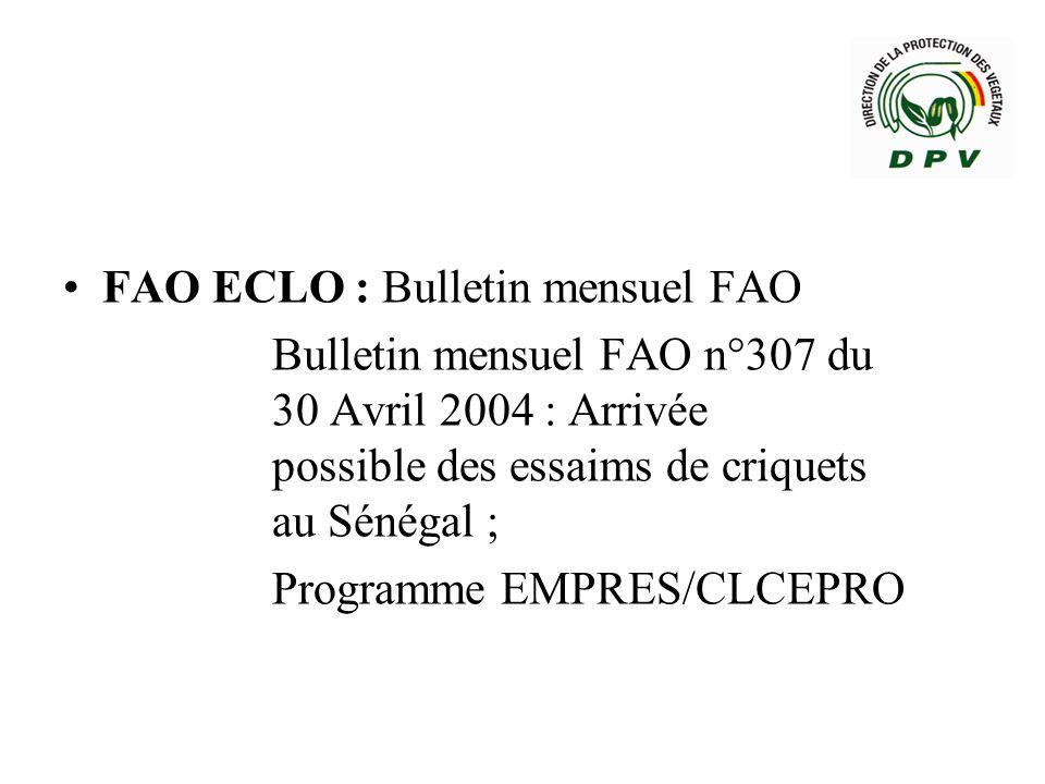 FAO ECLO : Bulletin mensuel FAO