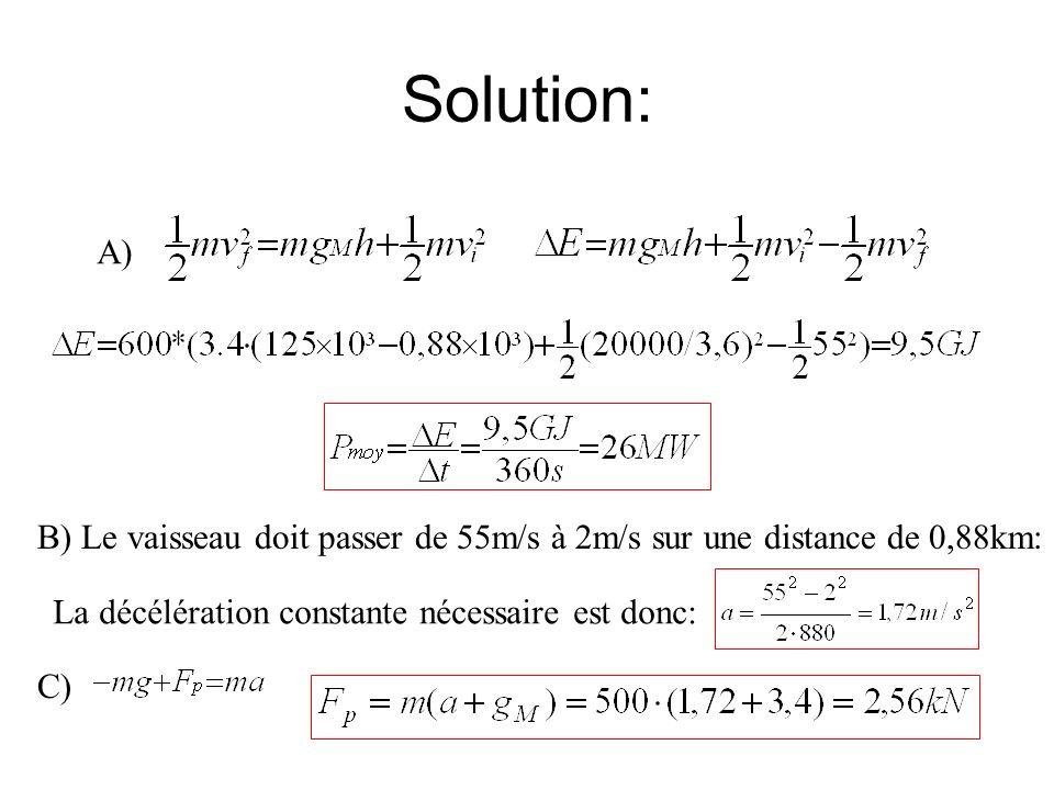 Solution: A) B) Le vaisseau doit passer de 55m/s à 2m/s sur une distance de 0,88km: La décélération constante nécessaire est donc: