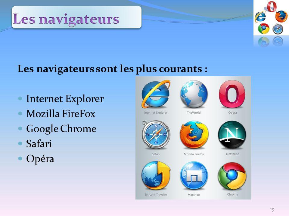 Les navigateurs Les navigateurs sont les plus courants :