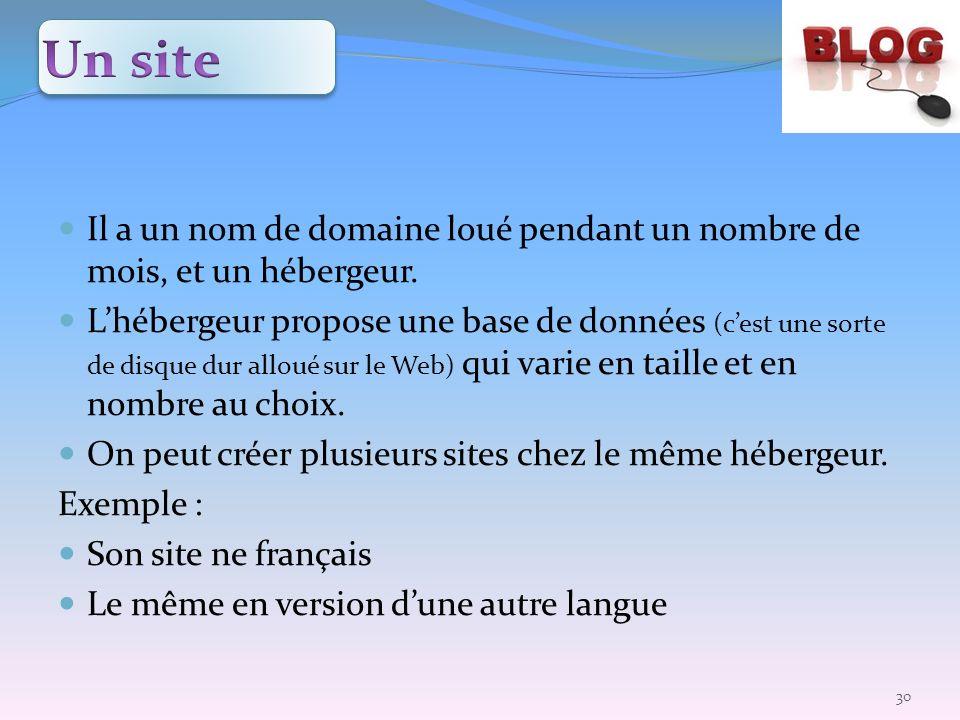 Un site Il a un nom de domaine loué pendant un nombre de mois, et un hébergeur.